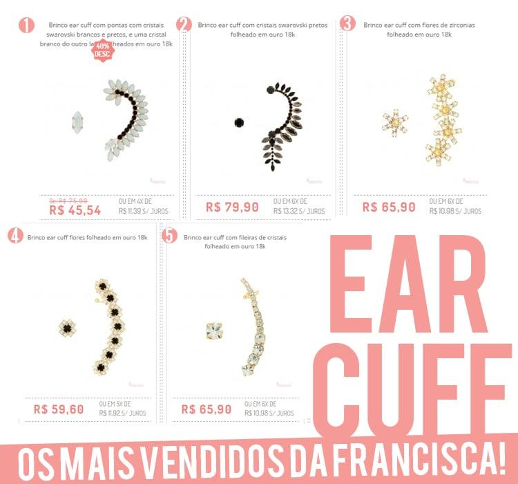 ear cuff's mais vendidos francisca joias