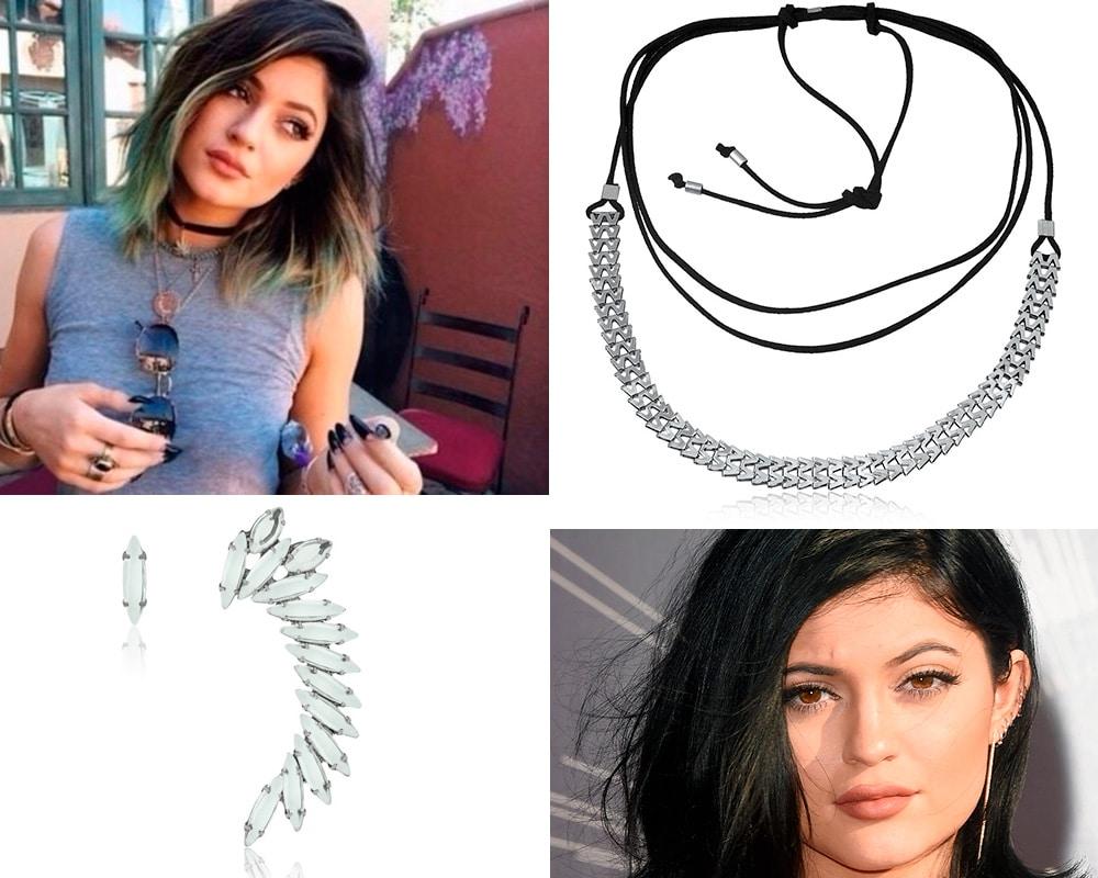 fotos de kylie jenner usando colares e brincos diferentes