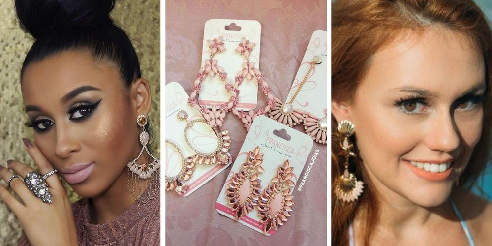 fotos de duas diferentes modelos usando brincos cor de rosa