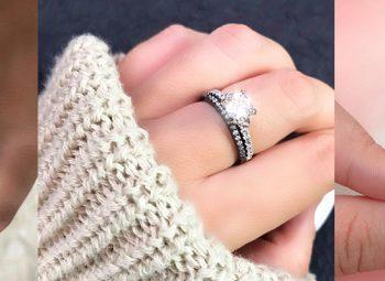 imagem ampliada de mão semi coberta por manga de casaco com anel de prata com pedra brilhante em cima