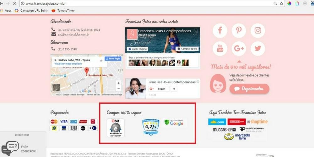 4067af4cac54c8 5 Dicas para saber se a loja virtual é confiável   Francisca Joias