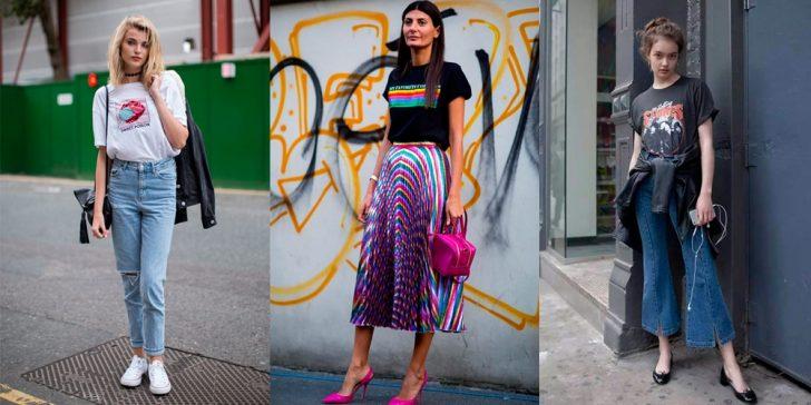 três fotos de mulheres usando camiseta estampada feminina com desenhos coloridos, usando calças jeans ou de diversas cores