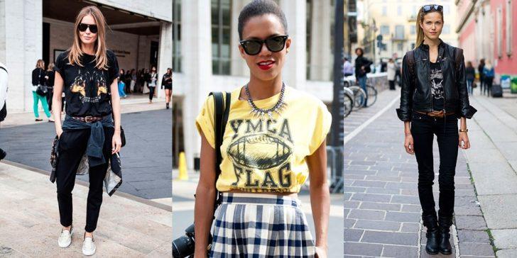 três fotos de mulheres posando na rua usando camiseta estampada feminina nas cores preta ou amarela