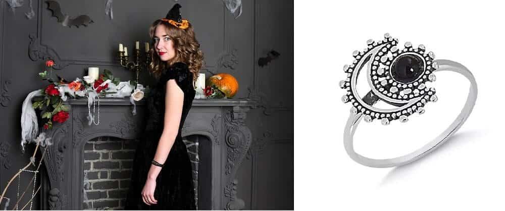 Bruxa e acessório para halloween - anel