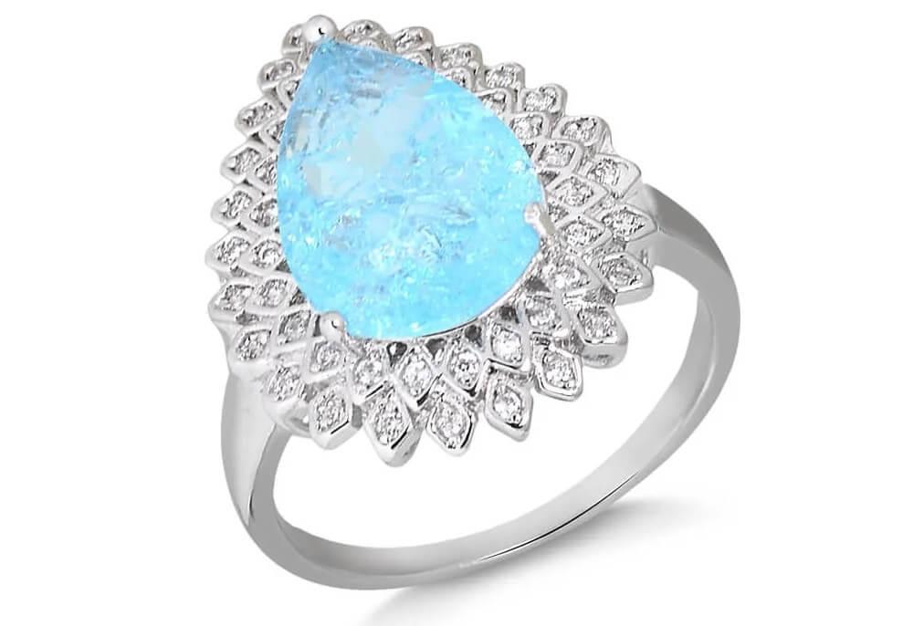 Anel de pedra fusion azul com zircônias