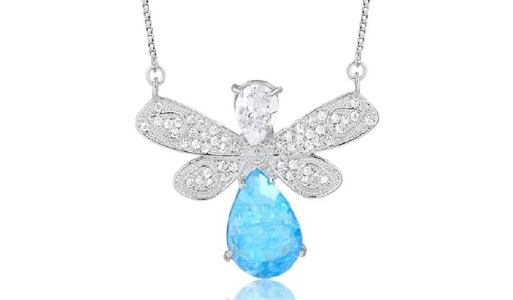 Colar de borboleta com pedra fusion azul