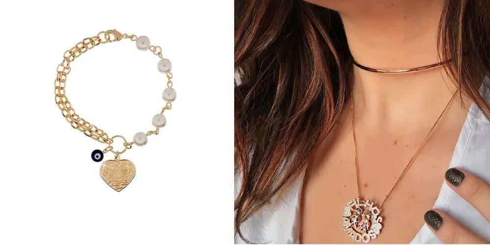 Modelo de pulseira com pérolas e pingente de coração e choker dourada