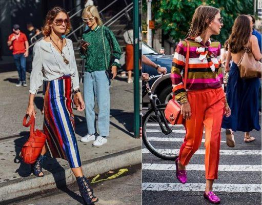 Modelos com calça e blusa de listras coloridas