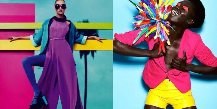 Modelos com roupa tendência pop colors