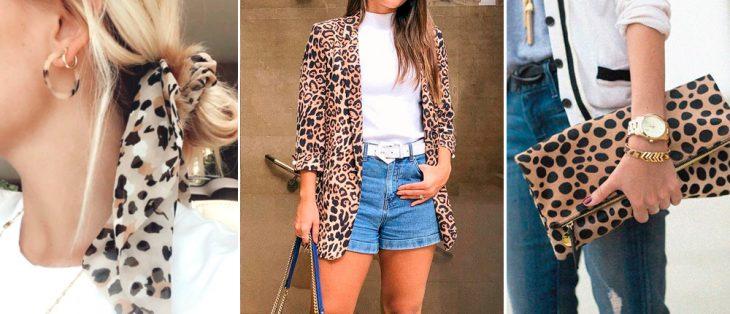 mulher com cabelo loiro e um lenço estilo animal print, mulher morena com blusa animal print short, short jeans e camiseta branca, mulher segurança uma bolsa de mão no estilo animal print