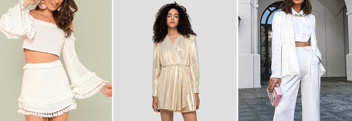 fotos de três mulheres com looks para o reveillon 2020 compostos por vestido, terninho e calça e cropped de manga longa com saia