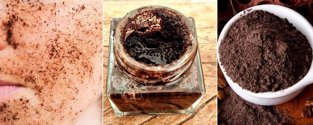 Composição de imagens com produto feito do café para limpeza de pele