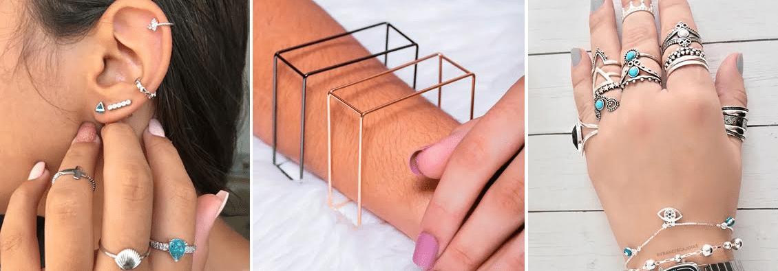 imagens de acessórios para o reveillon 2020, sendo brincos, pulseiras e anéis