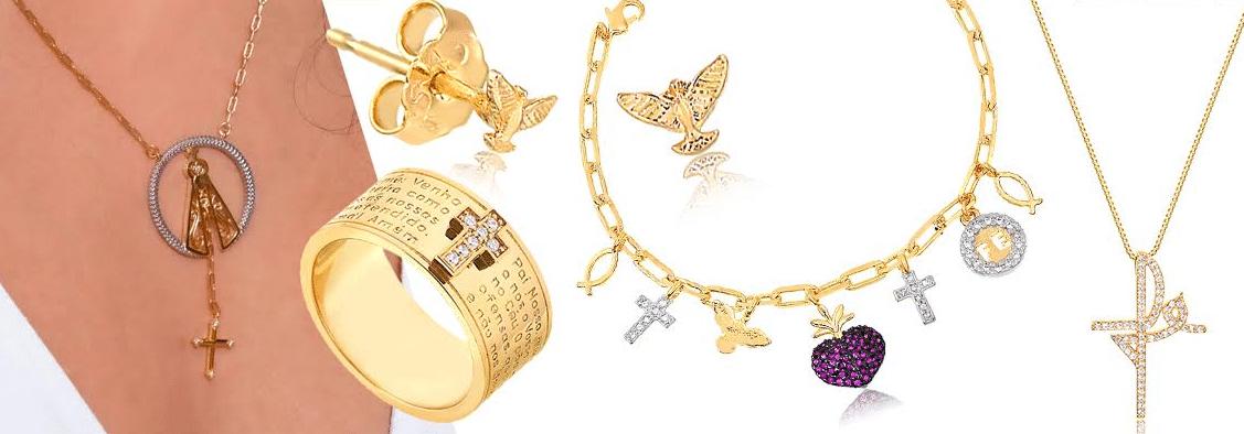 imagens com peças de joias da coleção fé