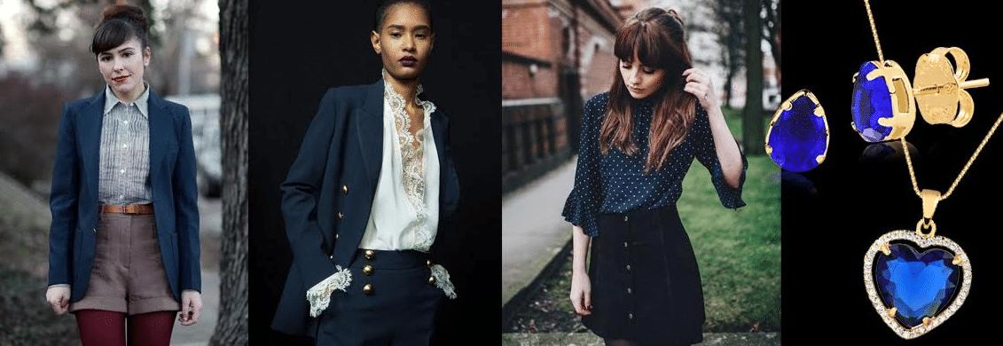 modelos usando roupas de cor blueberry
