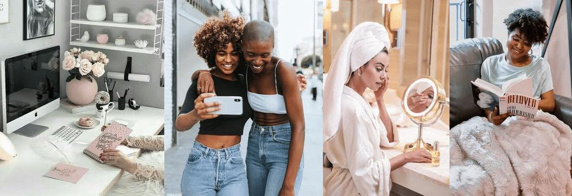 exemplos de mulheres cuidando de si mesmas de diferentes formas