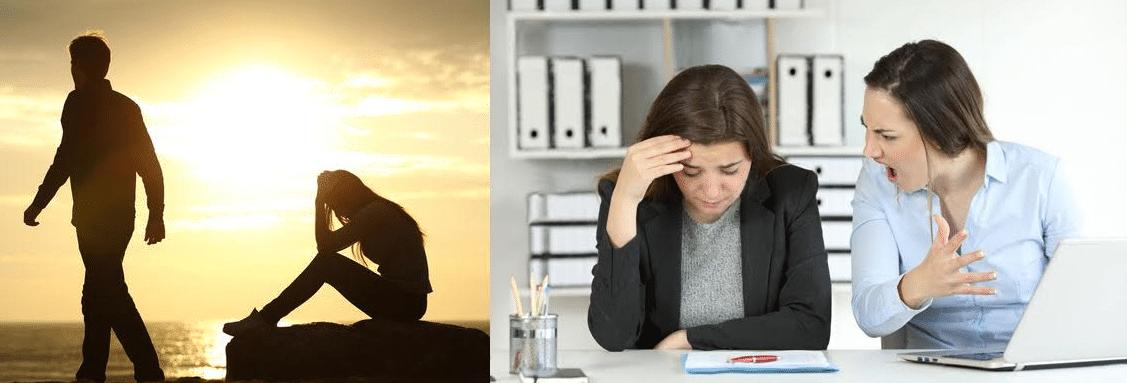 homem abandonando parceira e mulher sendo vitima de violência verbal no trabalho