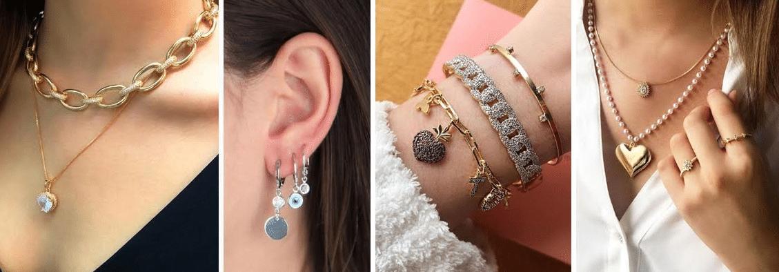acessórios como colares, brincos, pulseiras e aneis dispostos em diferentes modelos