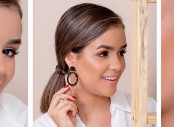 três fotos de diferentes de uma modelo usando tipos diferentes de brincos