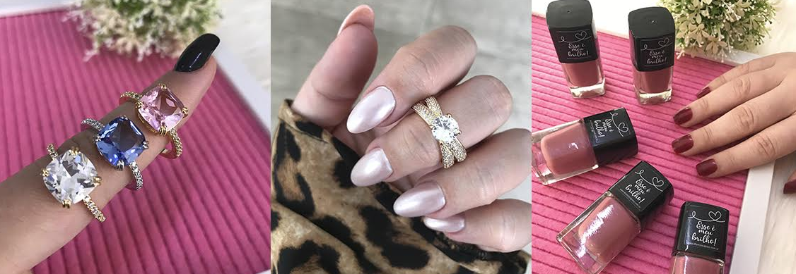 exemplos de cores de esmalte combinando com modelos de anéis