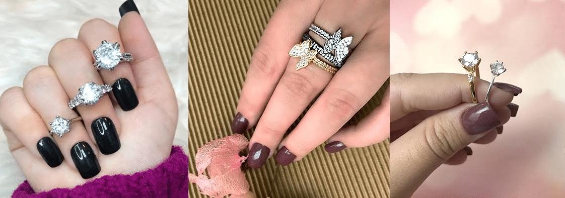 modelos de anéis combinando com tons de esmalte mais escuros e nude