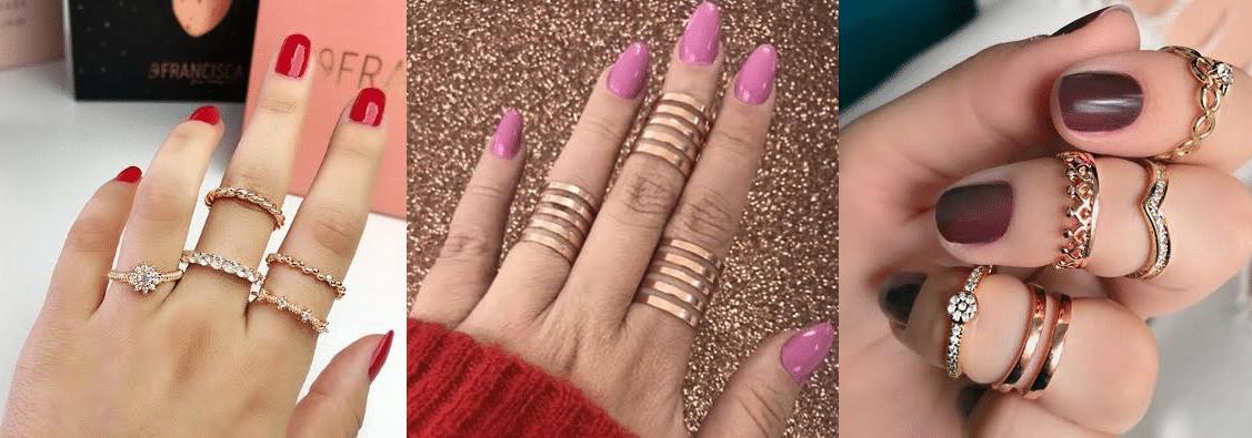 três modelos de cores quentes de esmaltes combinando com anéis de vários modelos