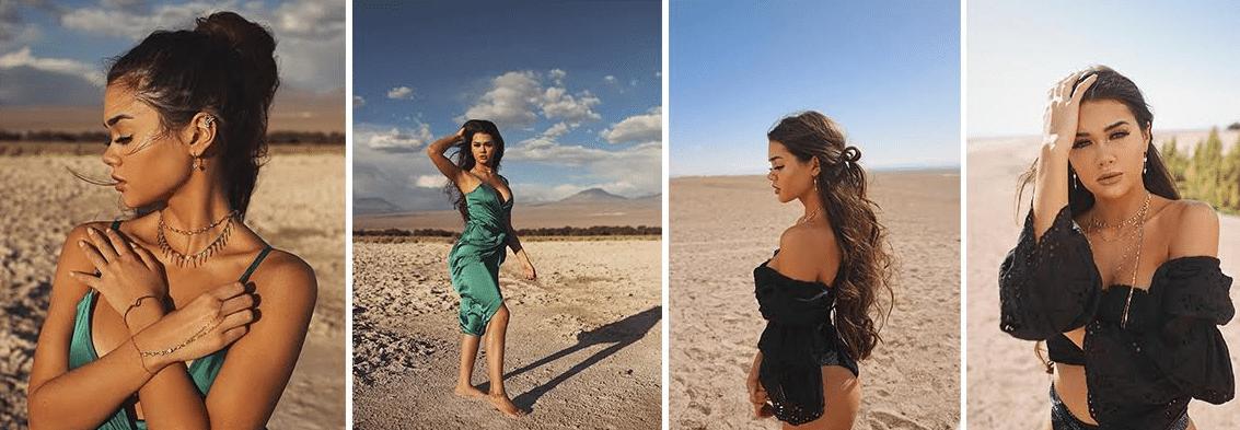 quatra fotos de Franciny Ehlke em um deserto usando um vestido verde e um body preto com mangas bufantes