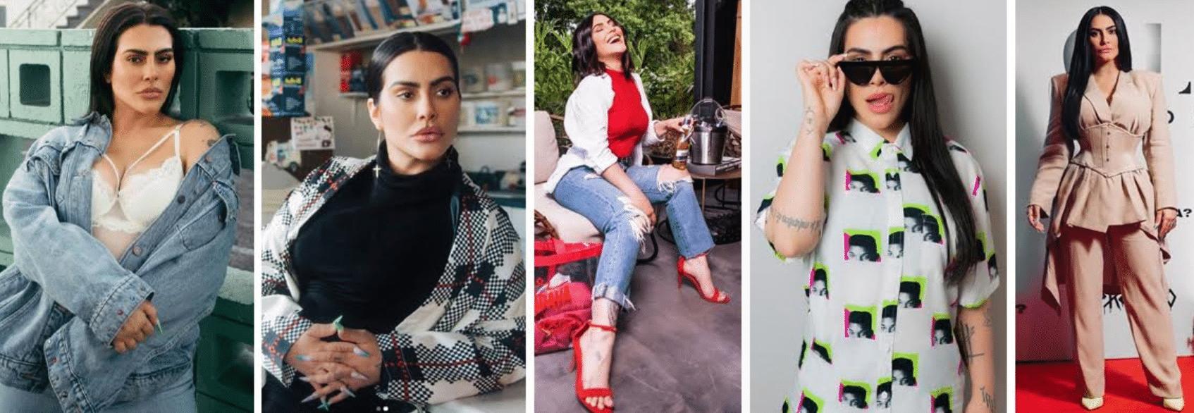 imagens da atriz Cleo Pires com diversos looks