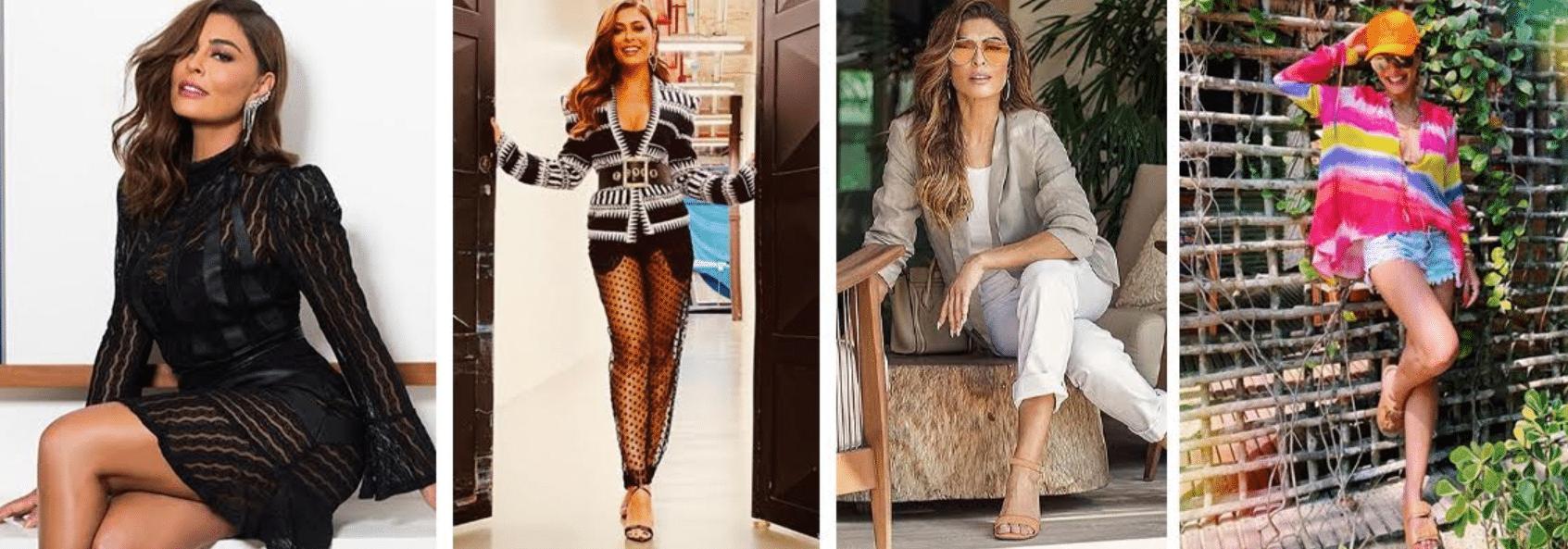 quatro fotos da atriz Juliana Paes usando roupas de diversos estilos