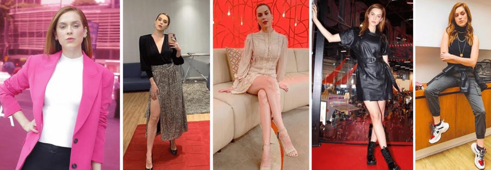 cincos fotos da atriz sophia abrahão com roupas diversas