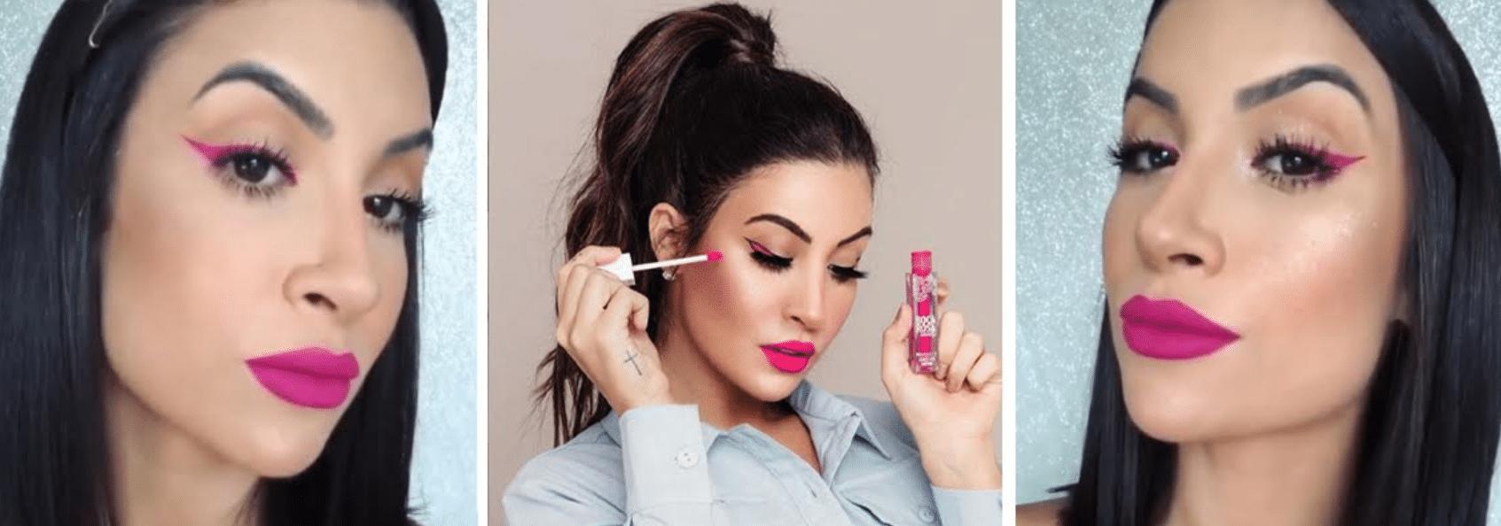 diferentes fotos da influencer boca rosa usando um delinieado rosa combinando com seu batom da mesma cor