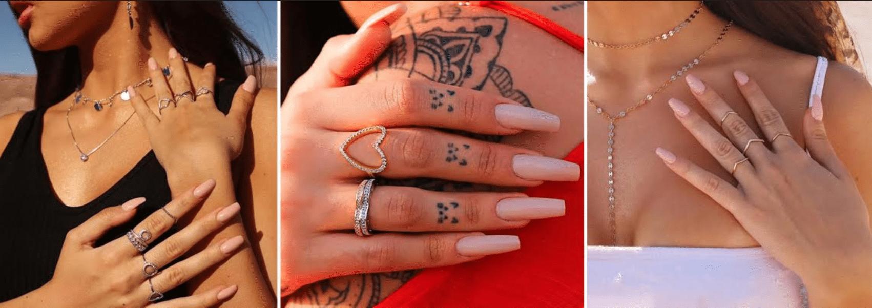 três fotos de diferentes modelos de anéis