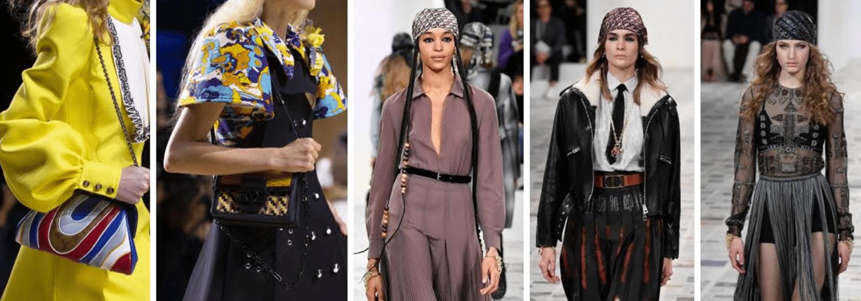 modelos desfilando em passarela da semana da moda em paris mostrando as tendências em acessórios