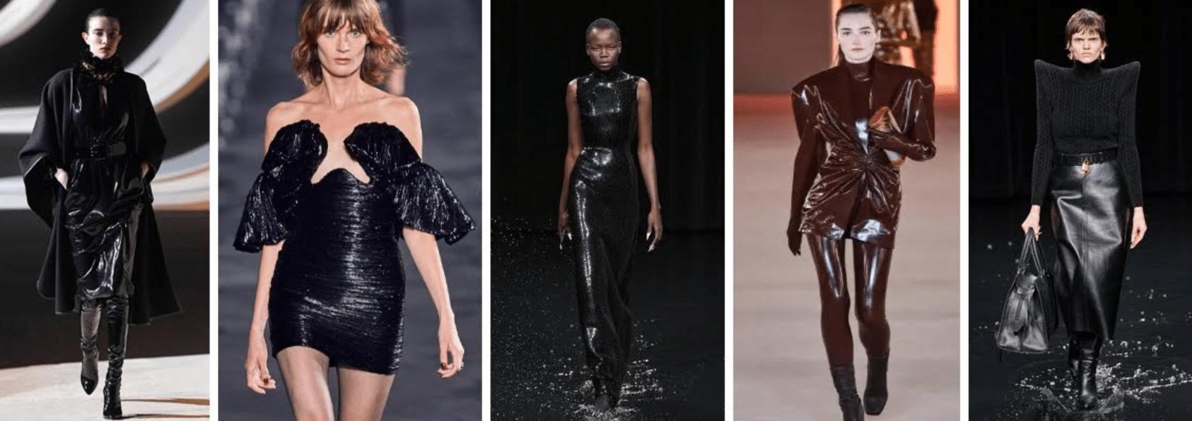 cinco fotos de modelos diferentes desfilando em passarela usando looks com couro