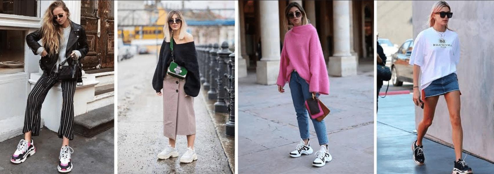 quatro modelos usando modelos diferentes de tenis tipo sneaker