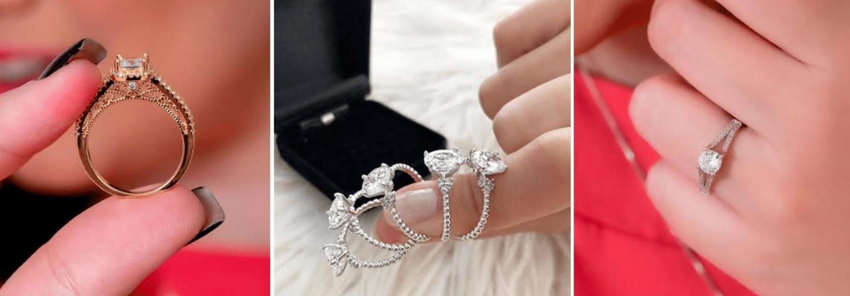 imagens ampliadas de modelo usando anel solitário com jóias