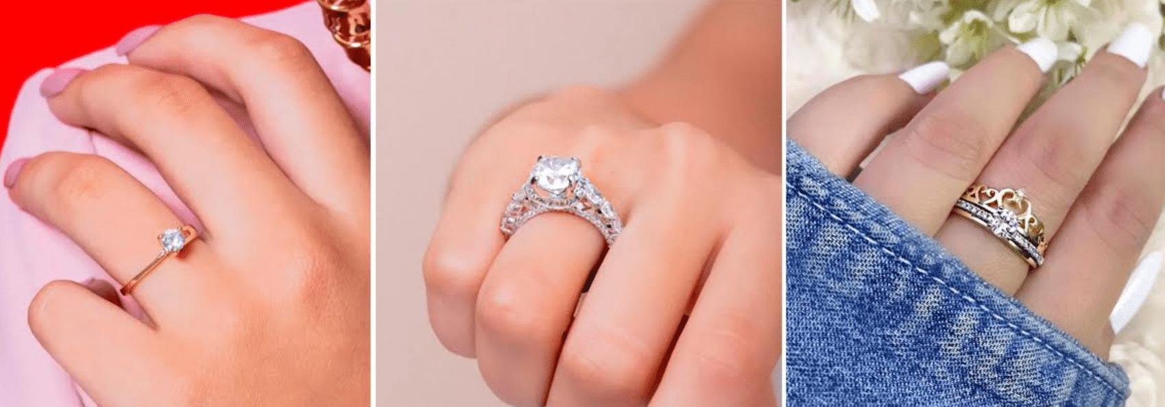 três imagens ampliadas diferentes de mãos com anéis com pedras
