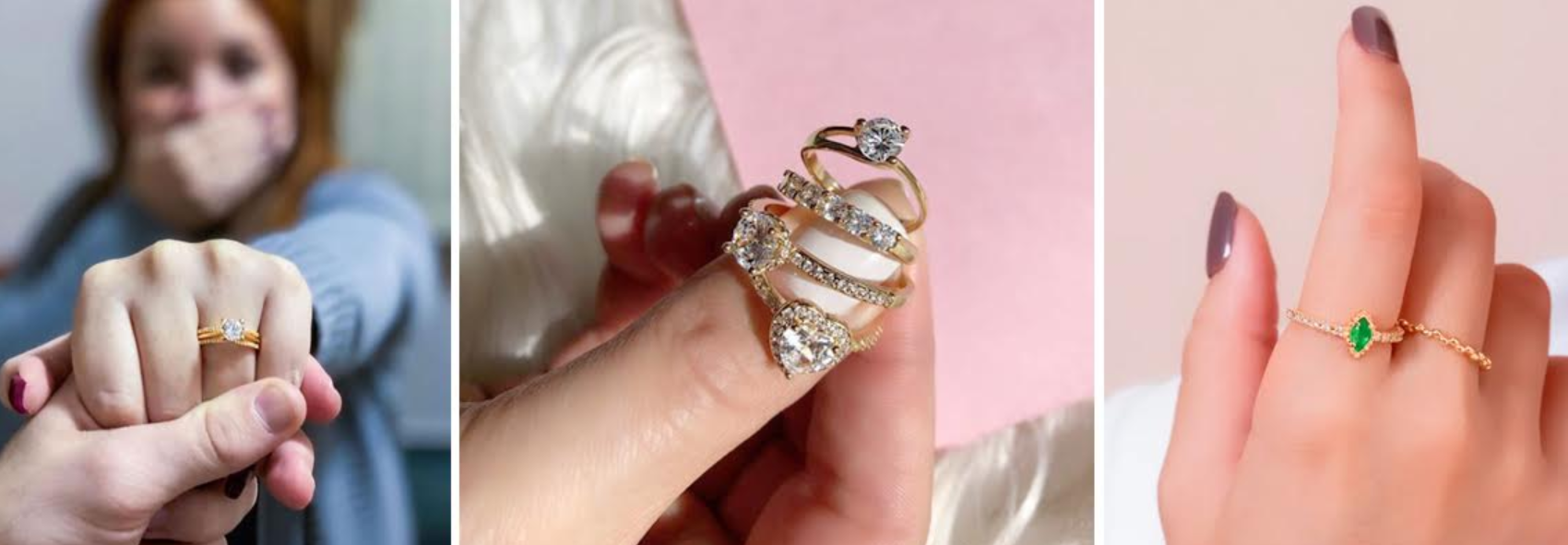 três imagens de mãos com anéis solitário cravejados de jóias