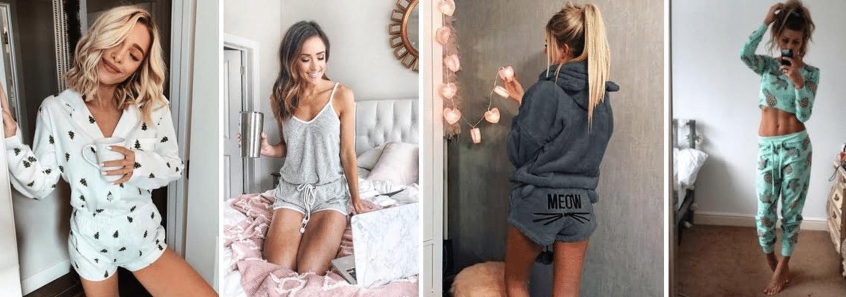 imagens de quatro mulheres usando pijamas em suas casas