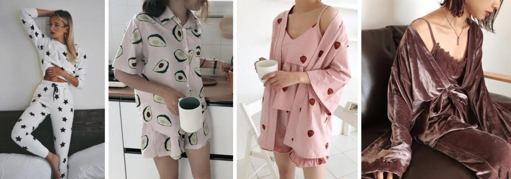 4 modelos usando pijamas ideias para ficar em casa