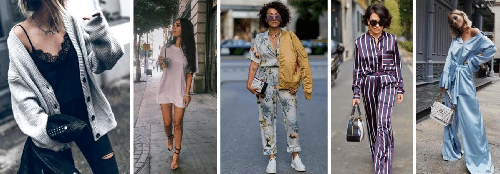 5 fotos de modelos usando modelos de pijamas adequados para usar fora de casa