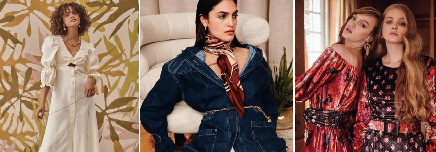 três fotos de mulheres vestindo looks da marca Amaro