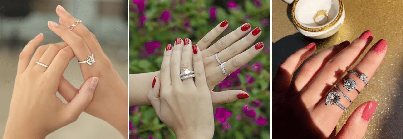 três imagens de mãos femininas com as unhas pintadas usando anel aparador