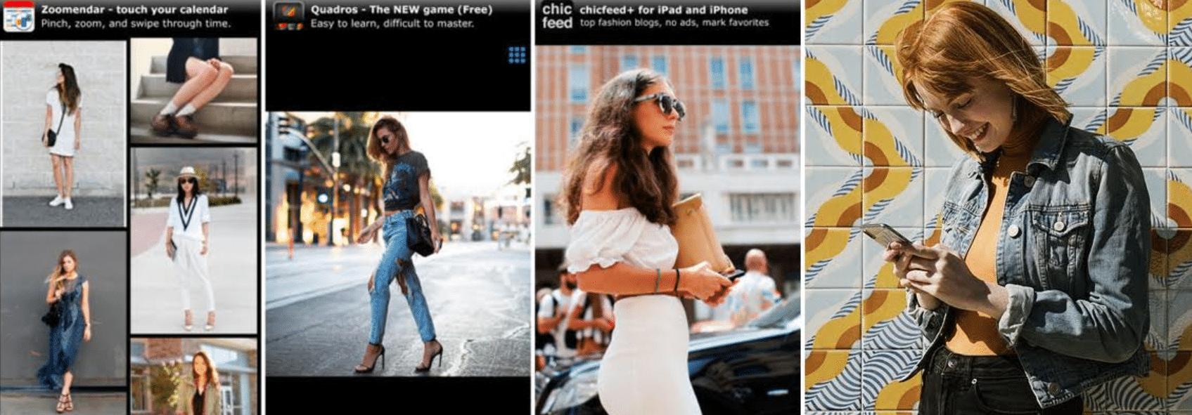 imagens do aplicativo e de pessoas usando o chicfeed