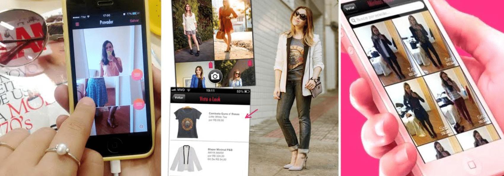 imagens de pessoas usando o aplicativo de moda modait