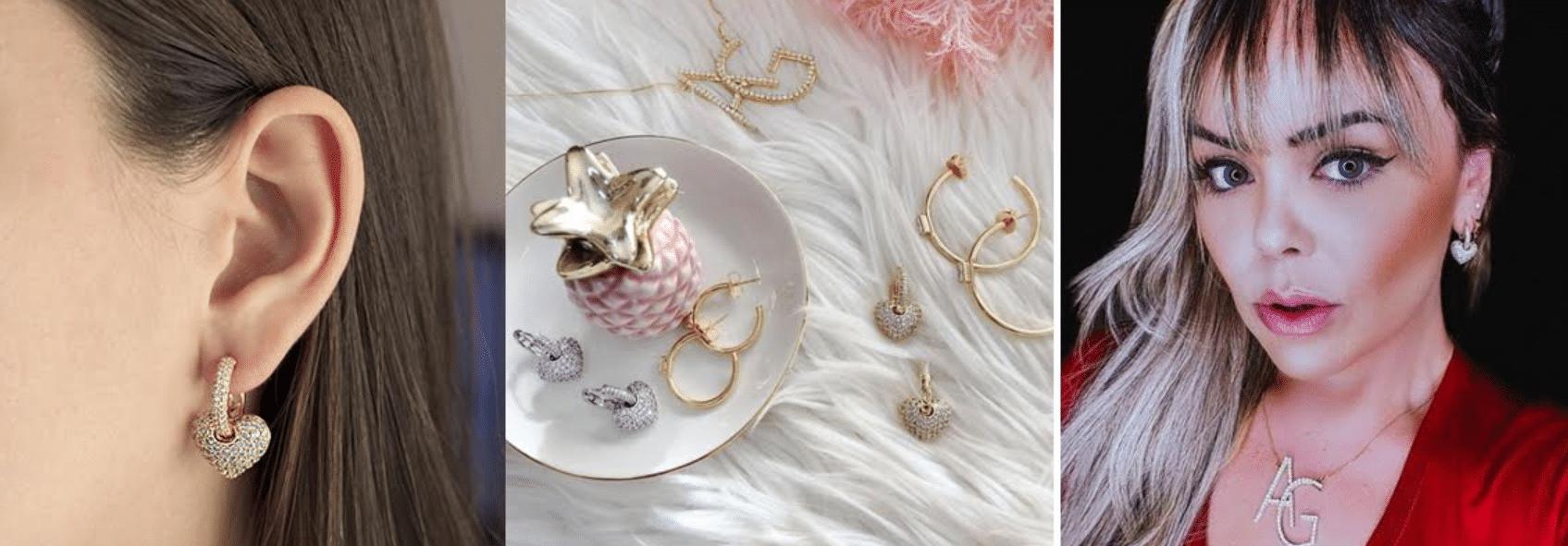 modelos usando brincos dourados de festa com argolas fechadas e adornos de coração