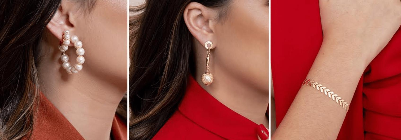 imagem de modelos usando roupas vermelhas vivas com brinco de festa dourado