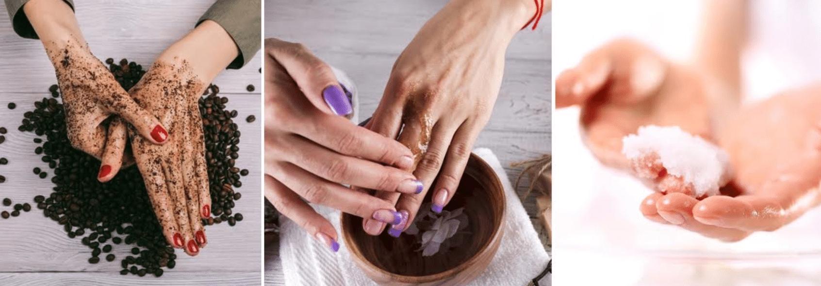 imagem de mãos sendo esfoliadas com métodos caseiros