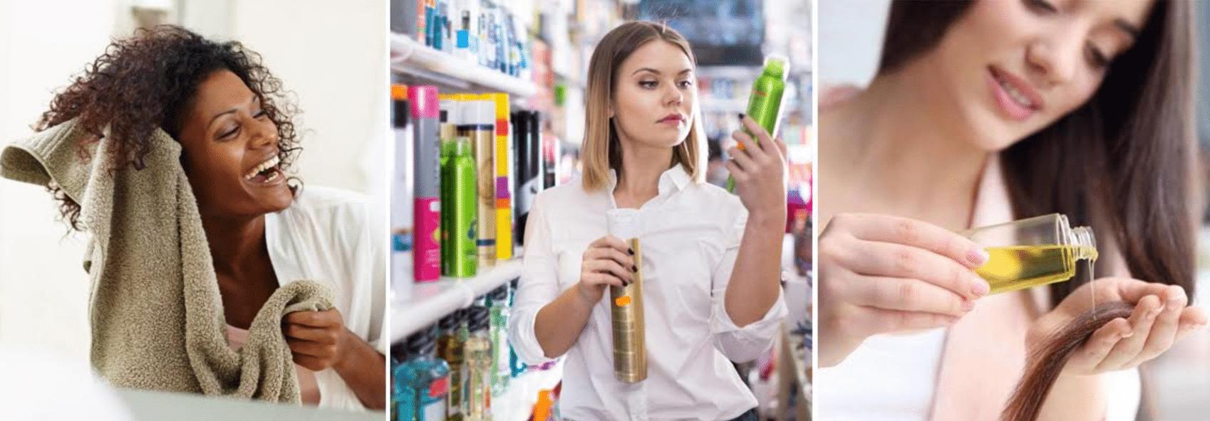 imagens de mulheres comprando e usando produtos para hidratar o cabelo