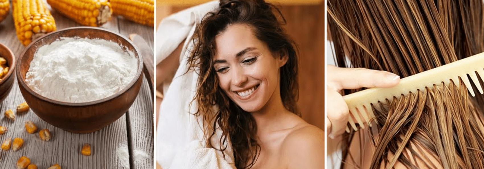 mulher sorrindo hidratando os cabelos com maisena